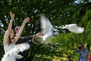 Interlaken release doves wedding