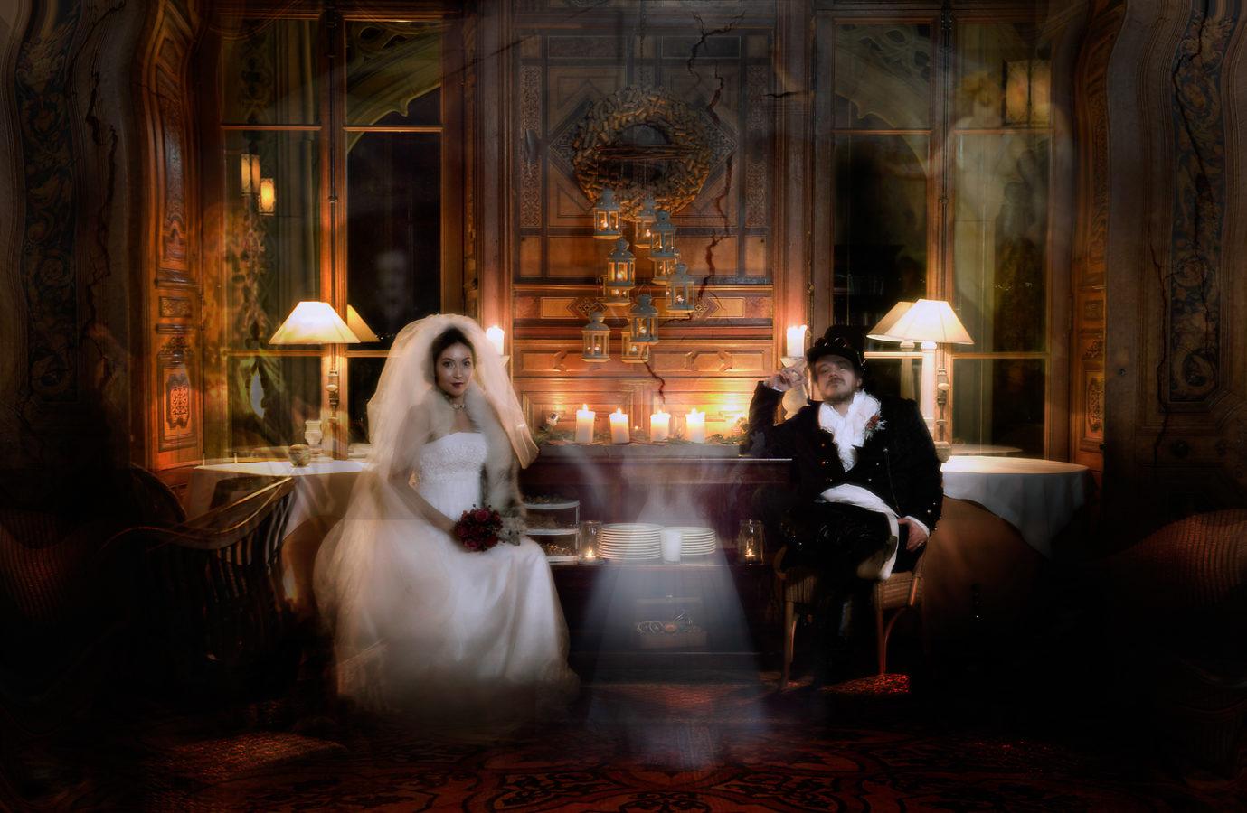 Steampunk Brautpaar Schloss Schadau Thun, Steam Punk Hochzeitsfotograf Thun, Hochzeitsfotos Steam Punk, Steam Punk Hochzeitsshooting Thun